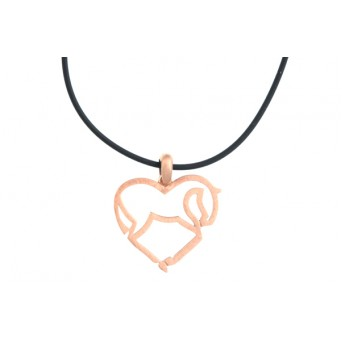 Jt Rose gold silver galloping horse heart pendant on black rubber
