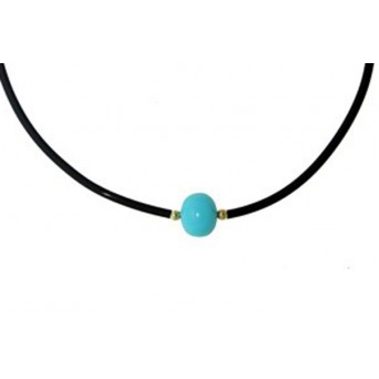 Jt Gold Sterling Silver Turquoise Solitaire Necklace on Black Rubber