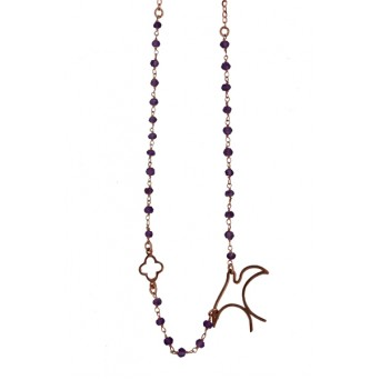 Jt Rose silver link chain amethyst swallow necklace