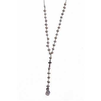 Jt Silver rosary necklace with fresh water pearls