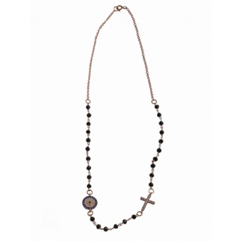 Jt Rose silver link chain eye necklace