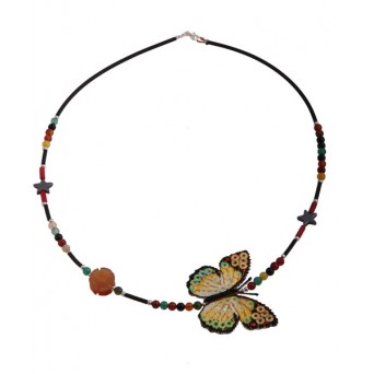 Jt Butterfly silver beaded necklace with cornelian