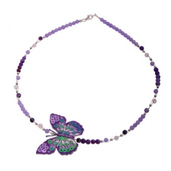 Jt Purple butterfly silver beaded necklace with amethyst