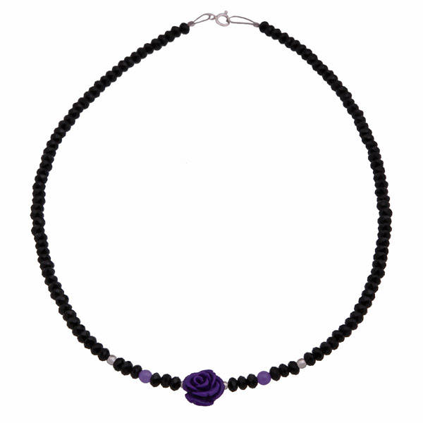 Jt Purple amethyst rose silver necklace with crystals