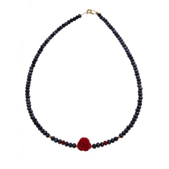Jt Red Corals Beaded Flower Necklace