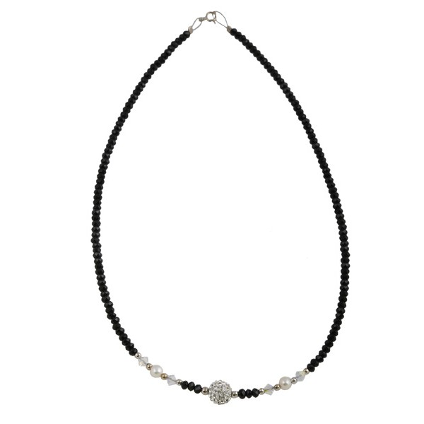 Jt Swarovski and Pearls Beaded Silver Necklace