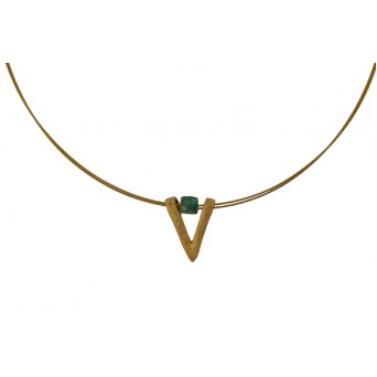 Jt Gold plated silver V necklace with aventurine