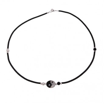 Jt  Yin Yang  solitaire silver necklace on black rubber