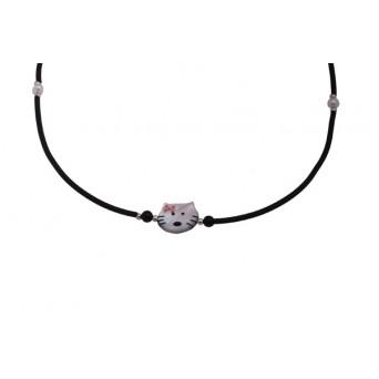 Jt  Cat silver children necklace on black rubber