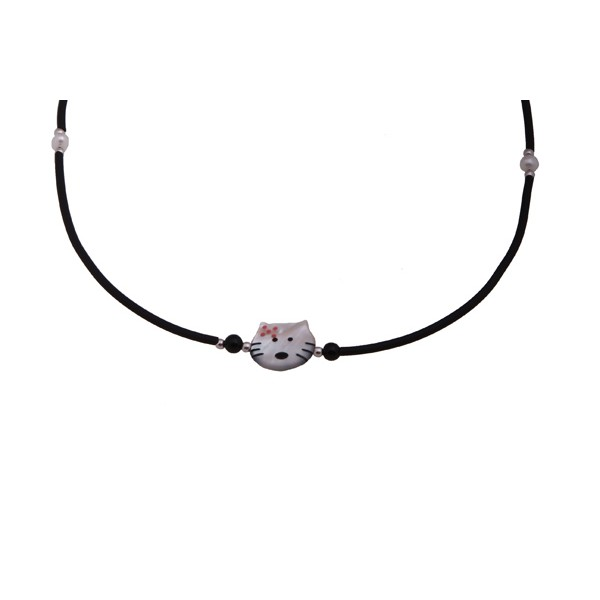 Jt  Cat silver children necklace on black rubber