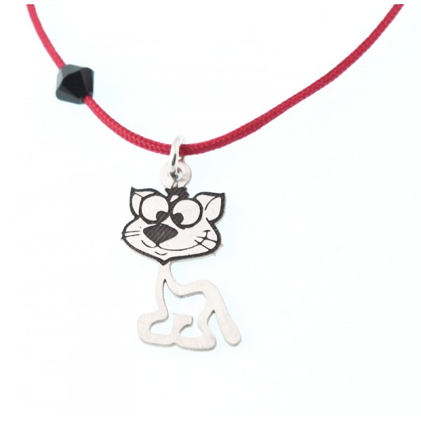 Jt Handmade silver citty children necklace on red cord