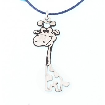 Jt Handmade silver giraffe children necklace on blue cord