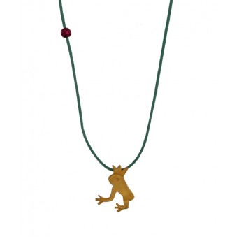 Jt Gold plated silver prince frog children necklace