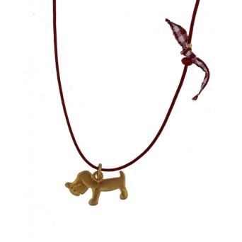 Jt Παιδικό κολιέ σκυλάκι με ασήμι, χρυσό και φούξια κορδόνι