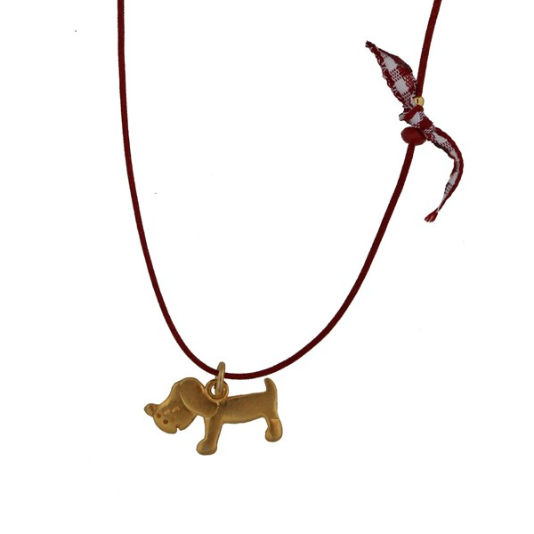 Jt Gold plated silver dog children necklace