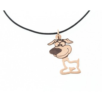 Jt Handmade rose silver dog children necklace on black cord