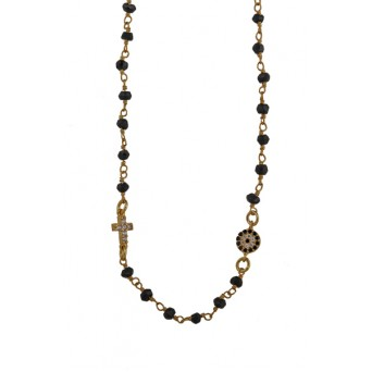 Jt Gold plated silver link chain target eye cross necklace