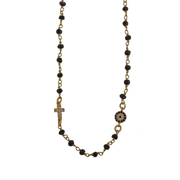 Jt Ασήμι επιχρυσωμένο link chain κολιέ μάτι με σπινέλια και ζιργκόν