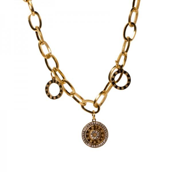 Jt Μενταγιόν ρολόι με στρας σε χρυσή αλυσίδα ατσάλι