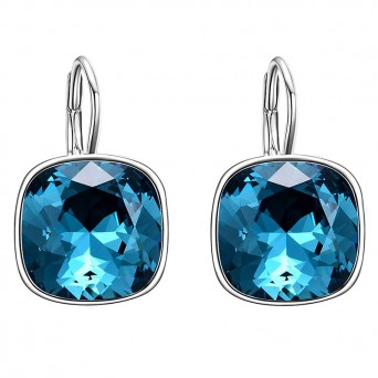 Jt Stainless steel blue crystal leverback earrings