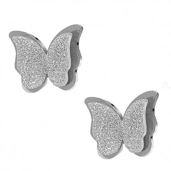 Jt Stainless Steel Stud Double Butterfly Earrings