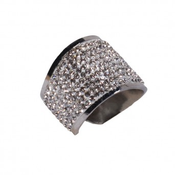 Jt Stainless steel curved ring with white rhinestones