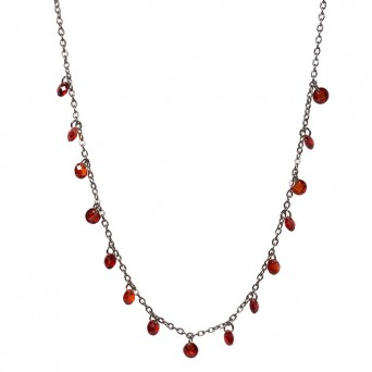 Jt Long stainless steel chain disc necklace with crystals