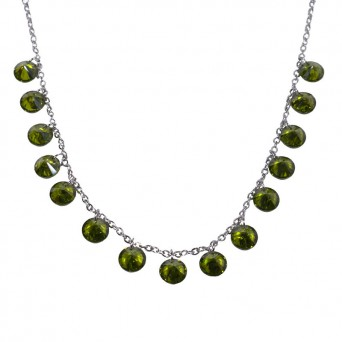 Jt Stainless steel chain necklace with emerald green crystals