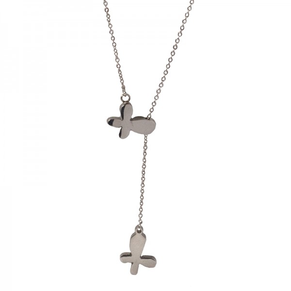 Jt Stainless Steel Double Butterfly Necklace