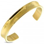 AD Stainless Steel Open Wide Gold Bangle Bracelet