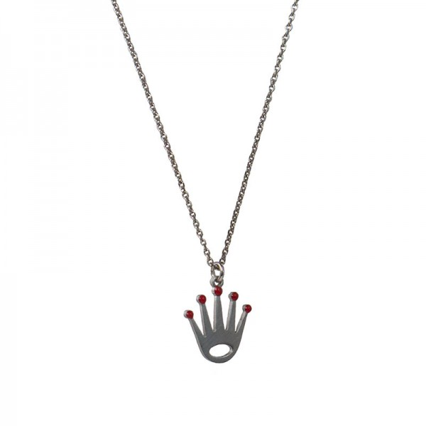 Jt Silver and steel crown necklace with chain