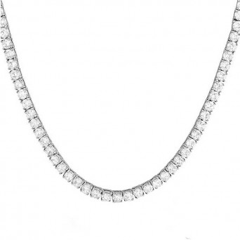Jt Stainless steel thick riviera necklace with white crystals