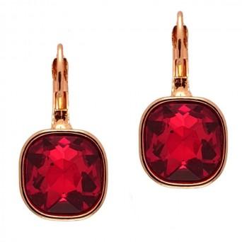 Jt Ατσάλινα σκουλαρίκια ροζ χρυσό ρουμπινί κρύσταλλο