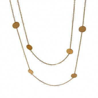 Jt Long Gold Chain Necklace with Steel Coins