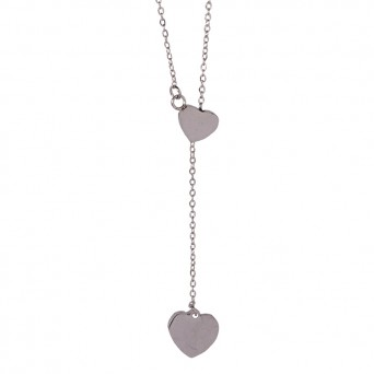 Jt Stainless Steel Double Heart Necklace