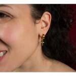 Jt Unisex small golden stainless steel cross hoop earrings