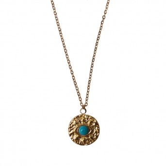 Jt Gold stainless steel evil eye necklace with blue bead