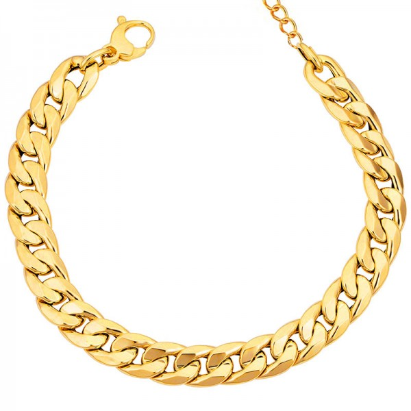Jt Stainless steel unisex cuban gold chain bracelet 11mm