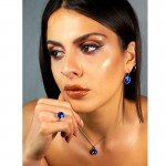 Jt Ασημένιο κολιέ Swarovski μπλε ηλεκτρίκ 12mm