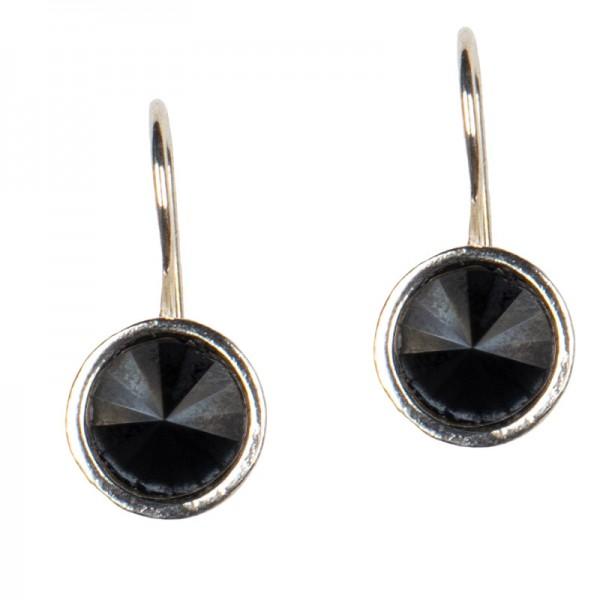Jt Ασημένια σκουλαρίκια Swarovski μαύρα 8mm