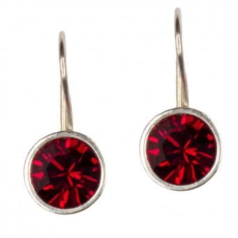 Jt Ασημένια σκουλαρίκια Swarovski κόκκινα 8mm