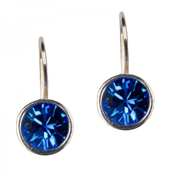 Jt Ασημένια σκουλαρίκια Swarovski μπλε ηλεκτρίκ 8mm