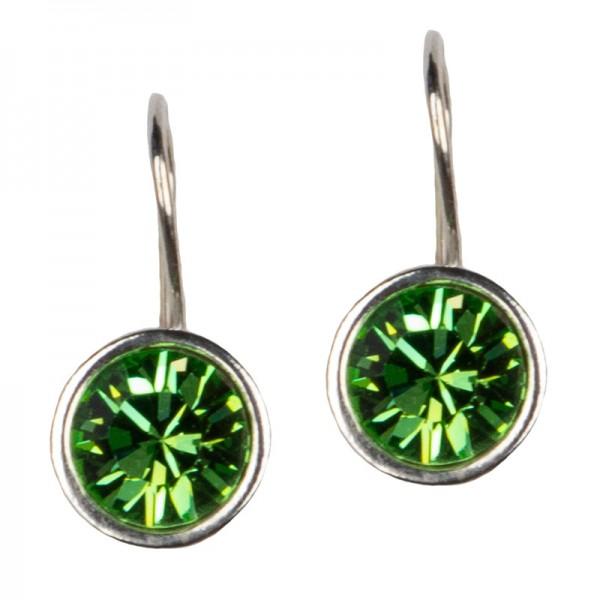 Jt Ασημένια σκουλαρίκια Swarovski πράσινα 8mm