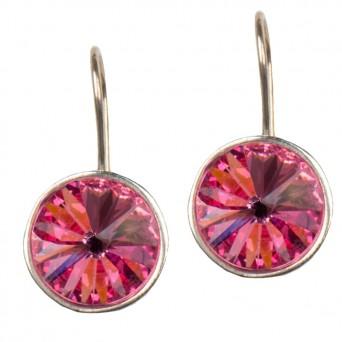 Jt Ασημένια σκουλαρίκια Swarovski ροζ 12mm