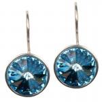 Jt Ασημένια σκουλαρίκια Swarovski γαλάζια 12mm