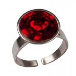 Jt Ασημένιο δαχτυλίδι Swarovski κόκκινο