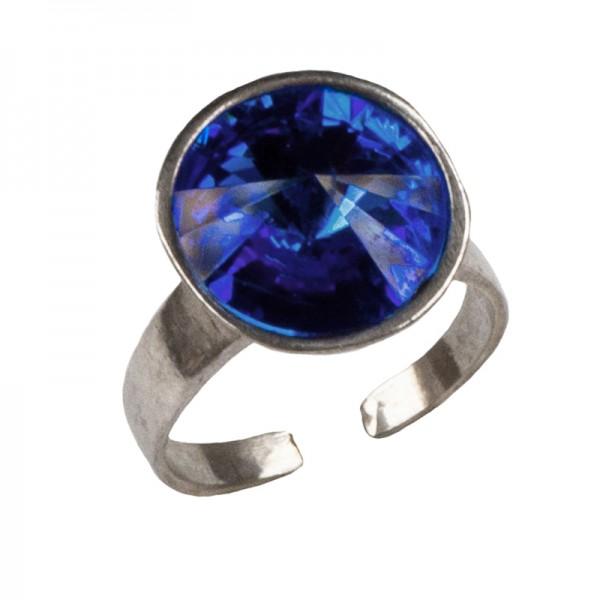 Jt Ασημένιο δαχτυλίδι Swarovski μπλε ηλεκτρίκ