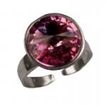 Jt Ασημένιο δαχτυλίδι Swarovski ροζ