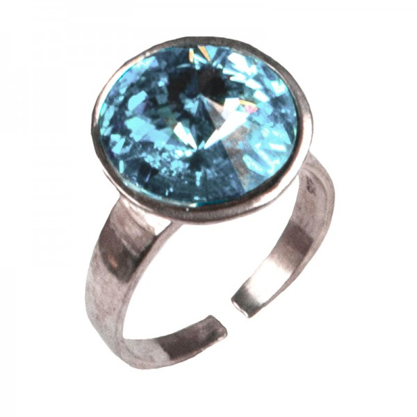 Jt Ασημένιο δαχτυλίδι Swarovski γαλάζιο