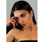 Jt Ασημένιο κολιέ Swarovski φούξια 8mm